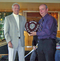 Don Shepherd presenting the 2007 trophy to 2007 winner Phil Hopkins