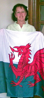 Lynda with the Welsh flag